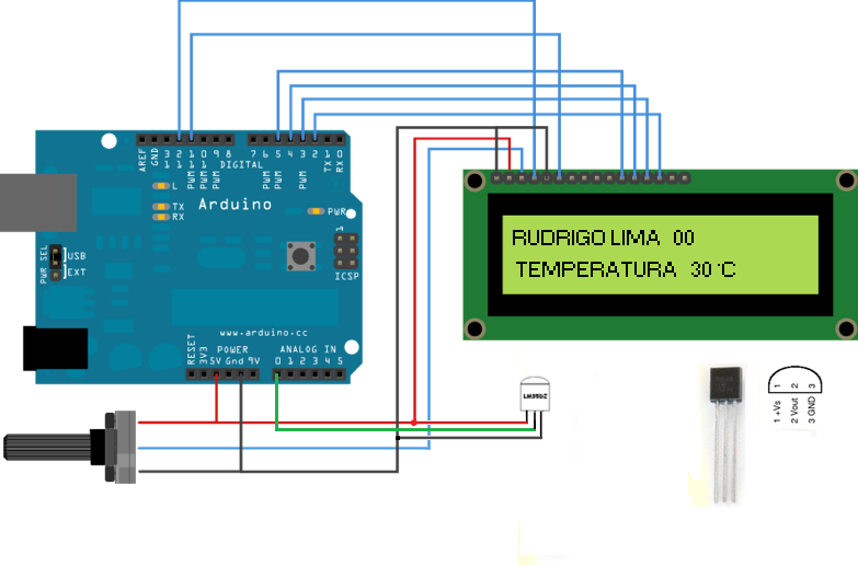 Termômetro com LM35DZ + display LCD